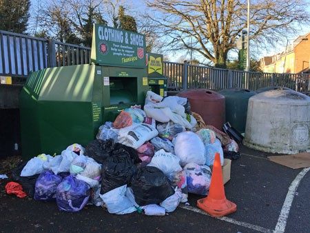 Textile waste at a bank in Hampshire, taken over the festive period